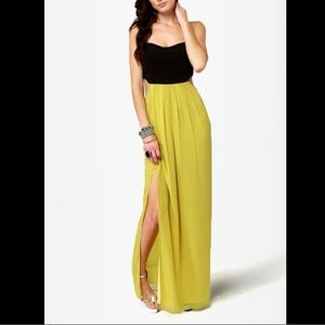 Lulus Black Eyed-Susan and Chartreuse Maxi Dress
